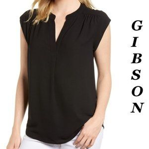 ❤️ Gibson Black Blouse V-Neck Size XS